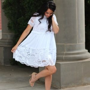 Kendall + Kylie White Babydoll Lace Dress NWT